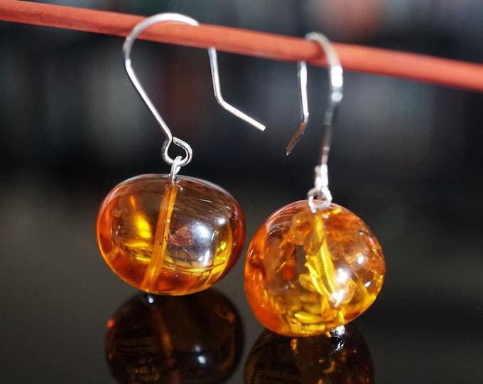 5,5g. Baroque Ball Cognac Baltic Amber Earrings, Dangle  Earrings