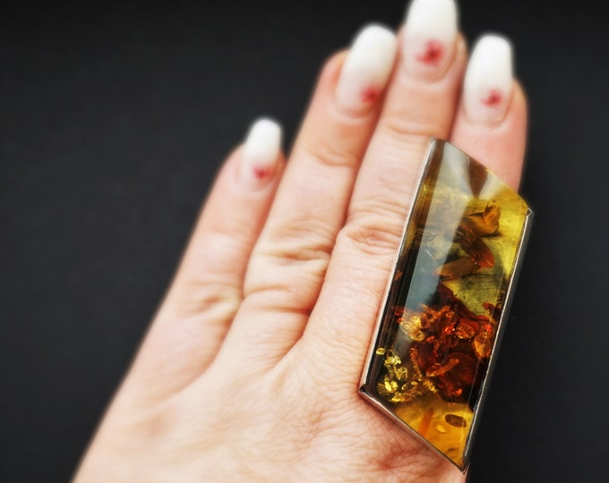45,3g.  Huge Unique Baltic Amber Ring, Oversized Ring, Natural Baltic Amber, Genuine Amber Ring