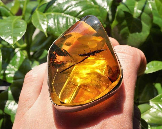 42g.Huge Baltic Amber Sterling Silver Ring, Genuine Amber, Yellow Amber Ring, Adjustable Ring