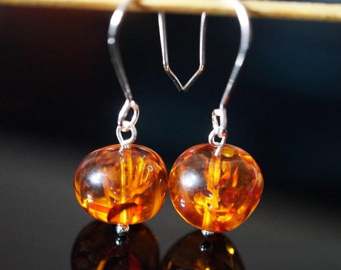 2,5g. Cognac Baltic Amber Sterling Silver Earrings, Baroque Bead Amber Earrings