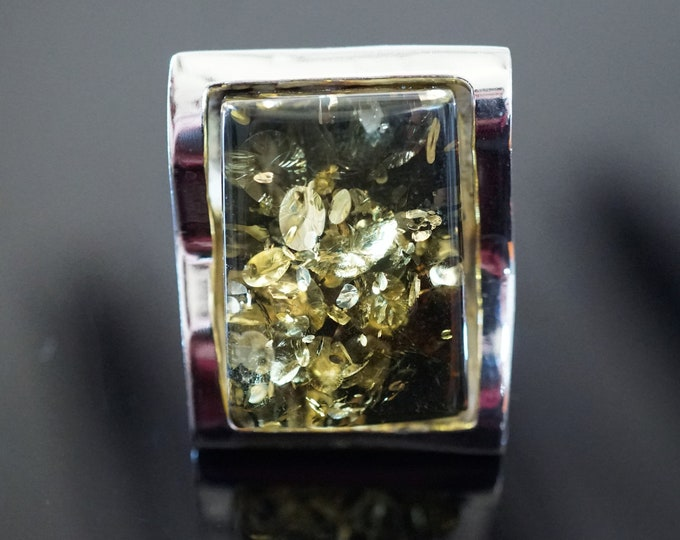 12,6g. Large Green  Baltic Amber Ring, , Sterling Silver