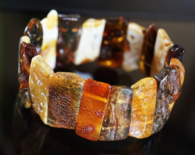20,5g Multicolour Baltic Amber Bracelet, Genuine Baltic Amber Bracelet, Beaded Bracelet