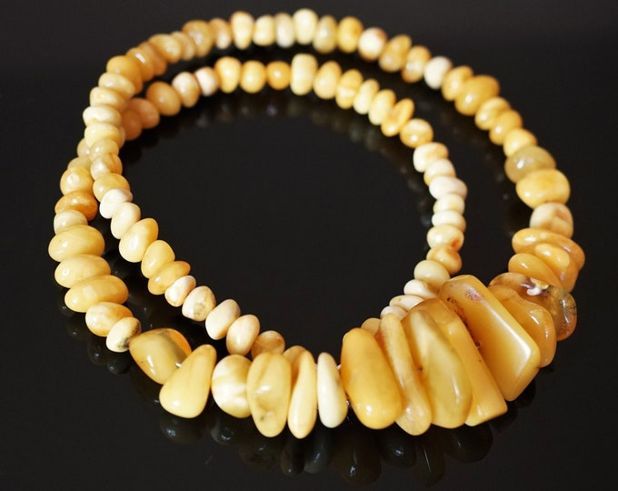 28,4g. White Butterscotch  Natural Baltic Amber Bead Necklace,, Nugget Amber, Elegant Amber Necklace