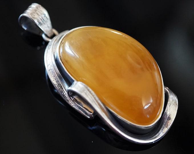 19,8g Baltic Amber Pendant, Deep Butterscotch, Honey Baltic Amber, Sterling Silver