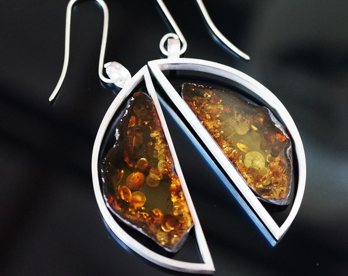 23,8g. Large Baltic Amber Sterling Silver Earrings, E. Salwierz Design Earrings, Modern Earrings,Cognac Baltic Amber