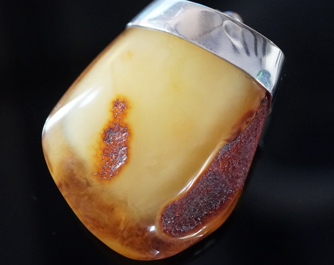 30g Large Baltic  Amber Pendant, Sterling Silver Baltic Amber Pendant, Butterscotch Amber, Egg Yolk Amber, Antique Amber