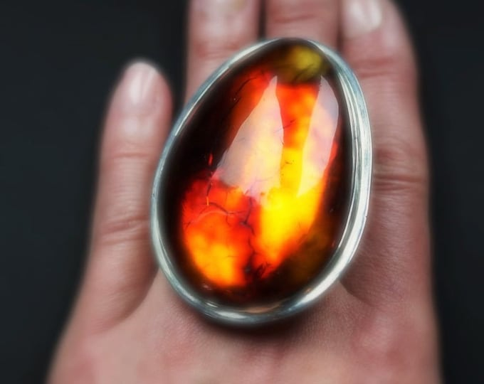 63g. Massive Unique Baltic Amber Ring, Huge Amber Ring, Genuine Amber, Ring, Oversized Ring