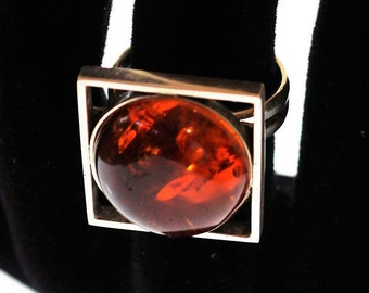 Cherry Baltic amber silver ring 9g
