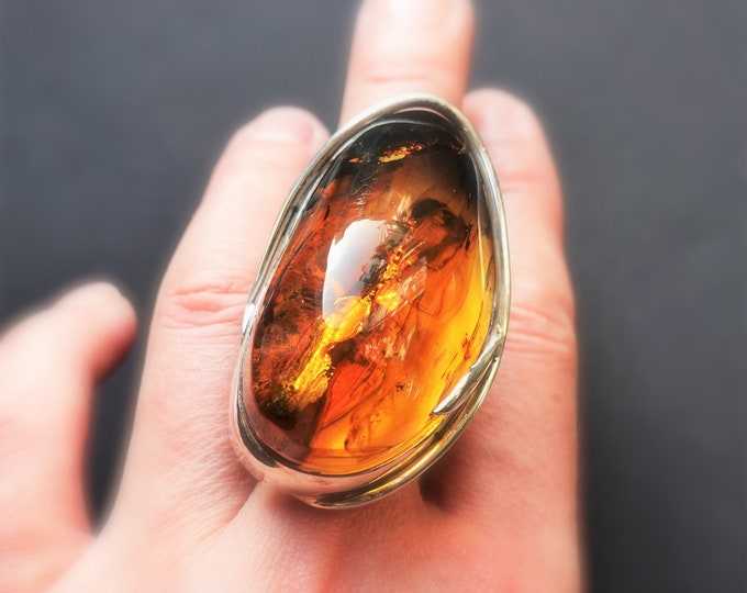 34g. Huge Baltic Amber Sterling Silver Ring, Oversized Ring, Yellow/Cognac Amber Ring