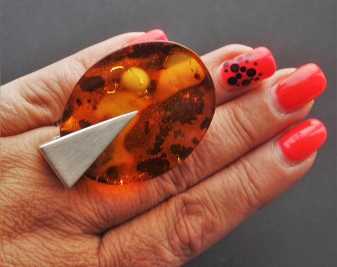25,5g. Genuine Baltic Amber Ring, Large Amber Ring, Big Bold Ring, Red/Yellow Amber