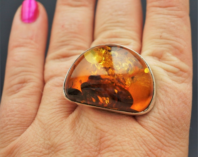 21,3g. Baltic Amber Sterling Silver Ring, Large Amber Ring, Oversized Ring