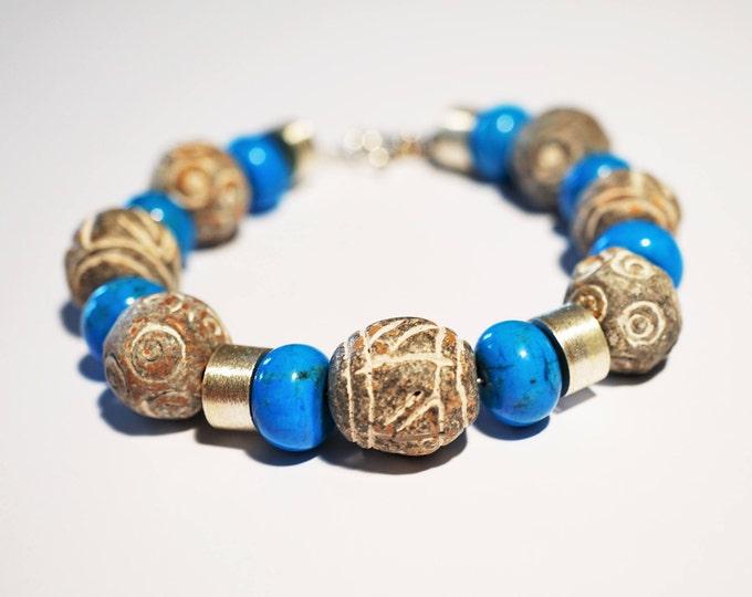 Handmade Sterling Silver Turquoise-Ceramic Bracelet 46g