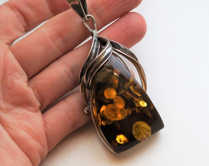 29g. Cognac/Green Amber Pendant, Sterling Silver