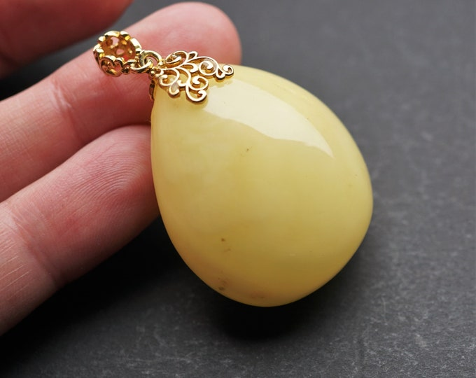 12.2g Natural Baltic Amber Pendant, Genuine, Untreated Amber, Not Modified Amber, Milki Amber, Solid Amber