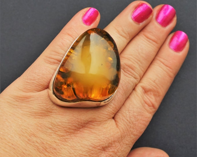 48,2g. Huge Baltic Amber Sterling Silver Ring, Oversized Ring