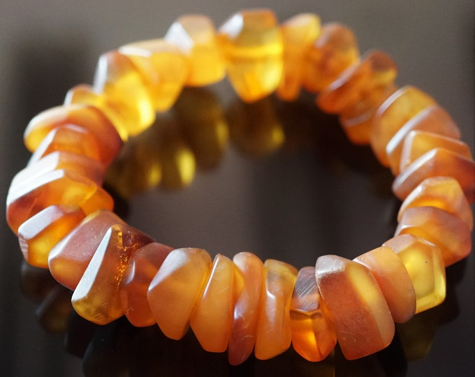 23g. Natural Baltic Amber Bracelet, Butterscotch Deep Honey Amber Bracelet