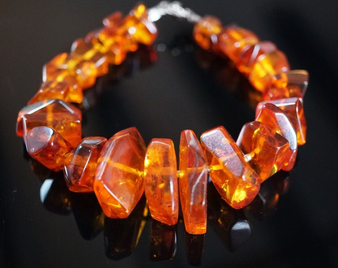 25,8g. Natural Baltic Amber Bracelet, Not Pressed, Honey Cognac Genuine Baltic Amber