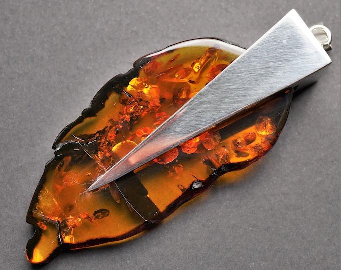 61g. Huge Artistic Baltic Amber Pendant/Necklace, E. Salwierz Design Amber, Cognac Amber