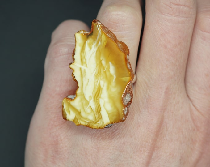5,7g. Butterscotch  White Baltic Amber Ring, Yellow Amber Ring,Natural Amber