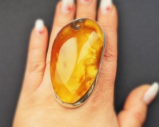68.1g Massive Unique Baltic Amber Ring,Natural Baltic Amber Ring, Yellow Amber,Milky Amber Ring, Amber Jewelry