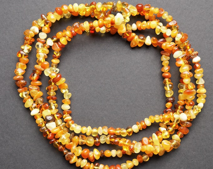 34g Long Multicolour Baltic Amber Neclace, Genuine Amber Necklace