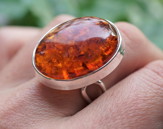 10g. Large Cognac Baltic Amber Ring, Sterling Silver, Adjustable  Ring