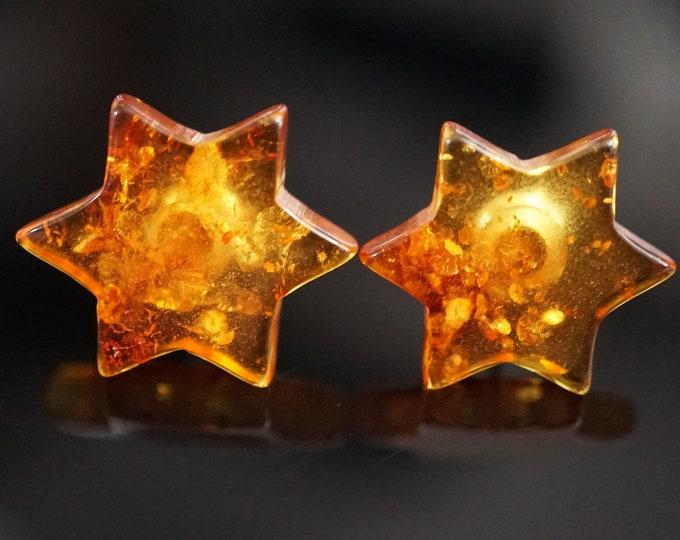 Cognac Honey Natural Baltic Amber Stud Earrings, Star Earrings