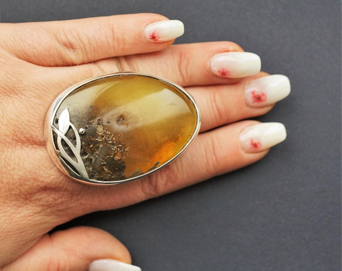 44,2g. Huge Unique Baltic Amber Ring, Oversized Ring, Natural Baltic Amber, Genuine Amber Ring, Butterscotch Amber Ring