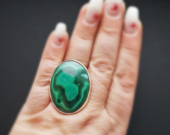 24.6g Large Malachite Ring, Handmade Ring, Sterling Silver, Adjustable Ring, Gemstone Ring