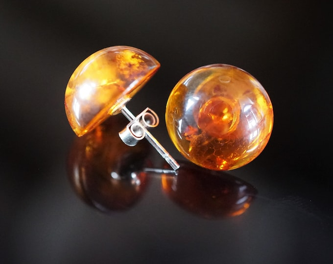 2g. Natural Baltic Amber Stud Earrings, Cognac Earrings