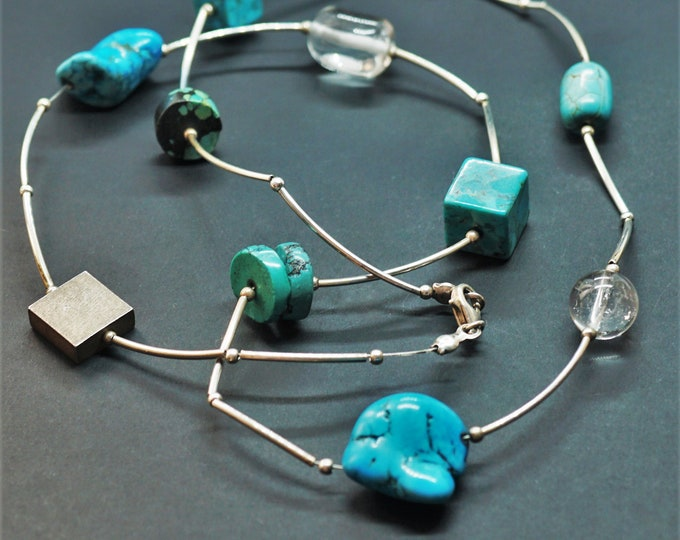 39,8g Handmade Sterling Silver Turquoise Necklace