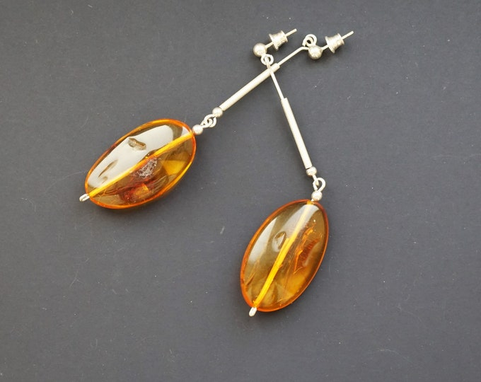 11g. Handmade Amber Long Earrings SALE
