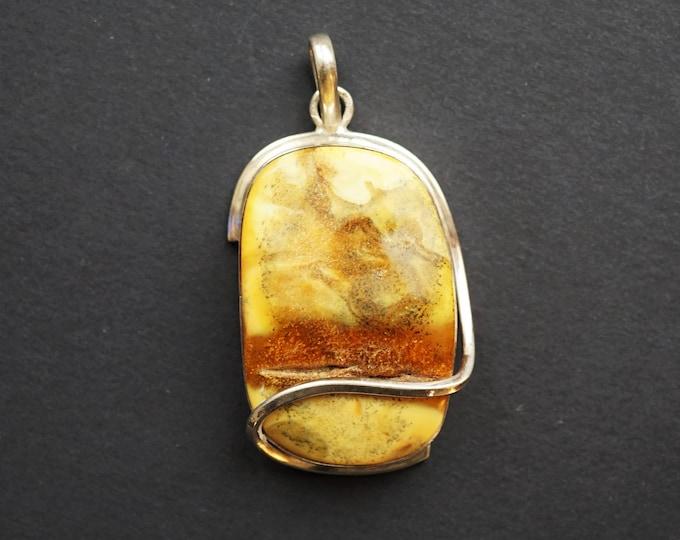 30g. Baltic Amber Pendant, Natural Amber Pendant, White Amber,Large Amber Pendant , Gift