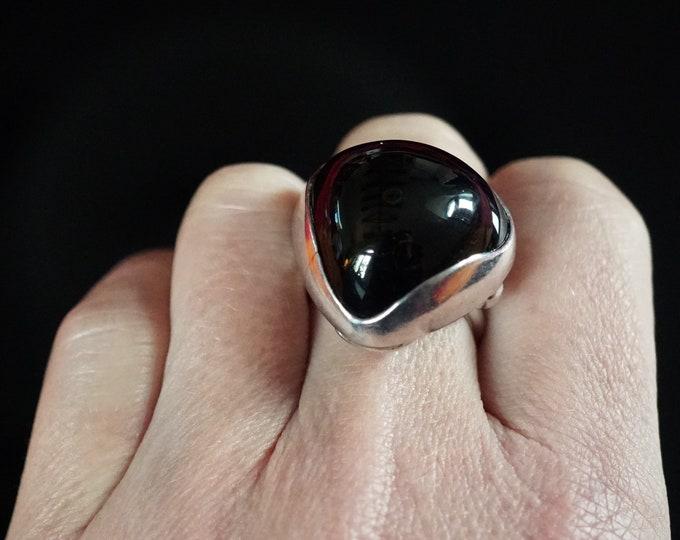 9g Large Black Onyx Ring, Handmade Ring, Sterling Silver, Gemstone Ring