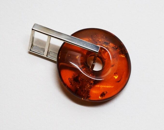 8g Handmade Baltic Amber Pendant, Donut, Amulet