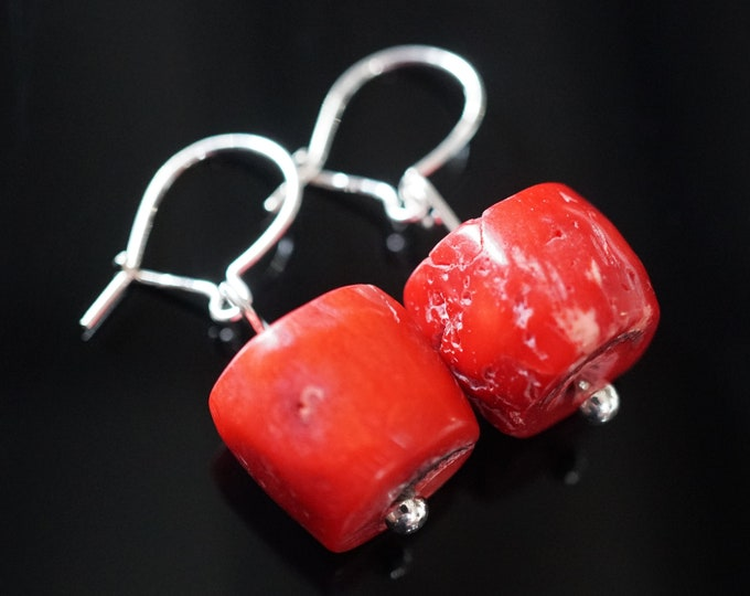 Natural Red Coral Large Earrings , Sterling Silver