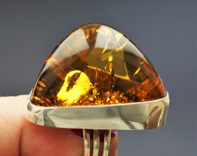 32,6g. Baltic Amber Sterling Silver Ring