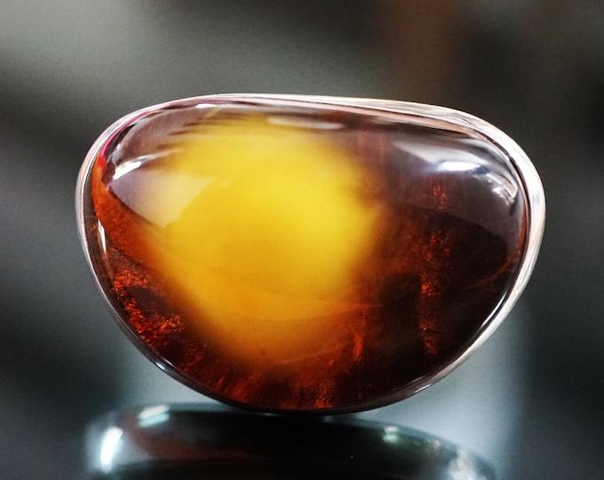 23,9g. Baltic Amber Ring, Honey Amber, Unisex Ring,Butterscotch Amber Ring, Egg Yolk Amber Ring, Large Amber Ring