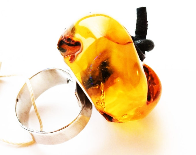 Natural Baltic amber silver ring  20g.