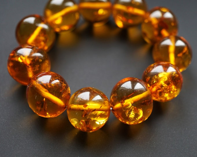 23,8 g. Large Genuine Baltic Amber Bracelet,  Not Pressed Amber, Amber Ball Bracelet, Cognac Amber
