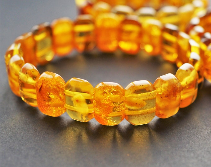 9,8g Natural Baltic Amber Bracelet, Organic Amber Bracelet, Genuine Amber, Yellow Amber Bracelet, Giftt for Him, Gift For Her
