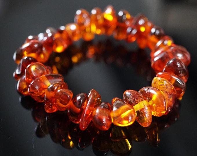 15g.Yellow Cognac Baltic Amber Bracelet, Genuine Amber Bracelet, Beaded Bracelet, Amber Beads, Natural