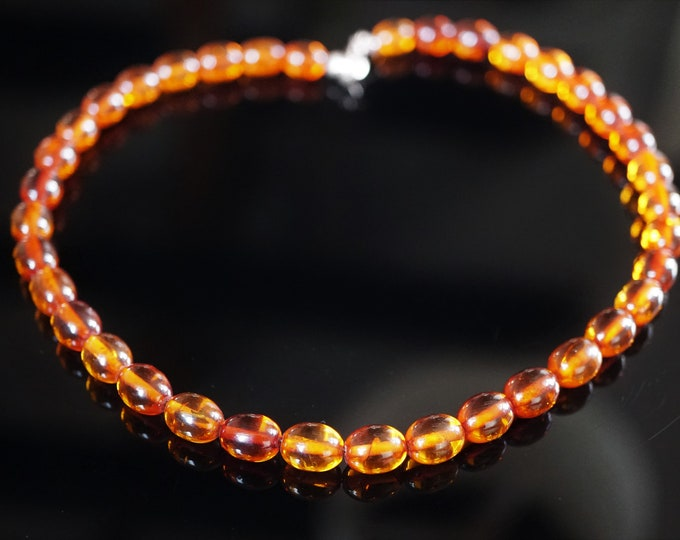 13g Natural Baltic Amber Necklace, Olive Bead Amber Necklace, Not Pressed Amber