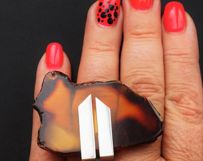 25g E. Salwierz  Baltic Amber Ring, Huge Ring, Artistic Jewellery, Cognac Amber Ring, Triangle, Triangular Ring