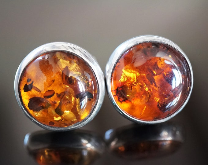 16,6g Cognac Amber Cufflinks, Baltic Amber Cufflinks