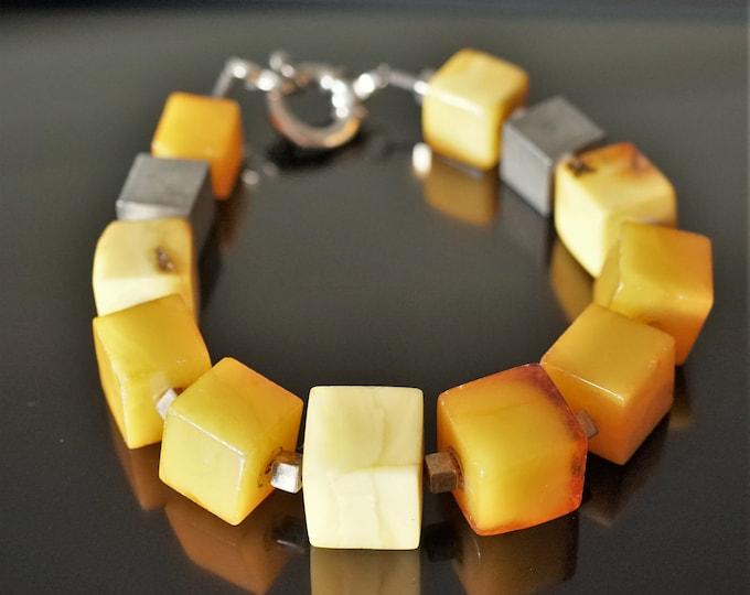 30g Natural Baltic Amber Bracelet, Genuine Amber, Not Modified Amber, Cube Amber Bracelet.