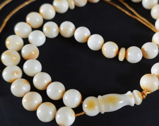 White Natural Baltic Amber Prayer Beads, Not Pressed, Not Modified, Tasbih Misbaha, Rosary