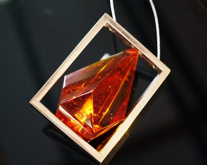 32g Unique Baltic Amber Necklace, Genuine Amber Necklace/Pendant, Large Amber, E. Salwierz Design Amber Necklace