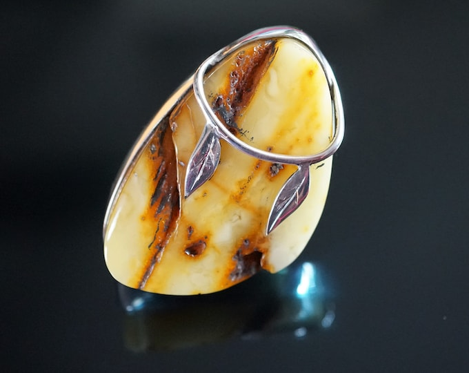 26,6g. Unique Baltic Amber Ring, Butterscotch Yellow Amber Ring, Genuine Amber