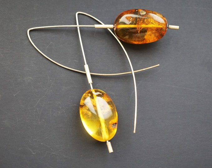 10g. Handmade Amber Long Earrings